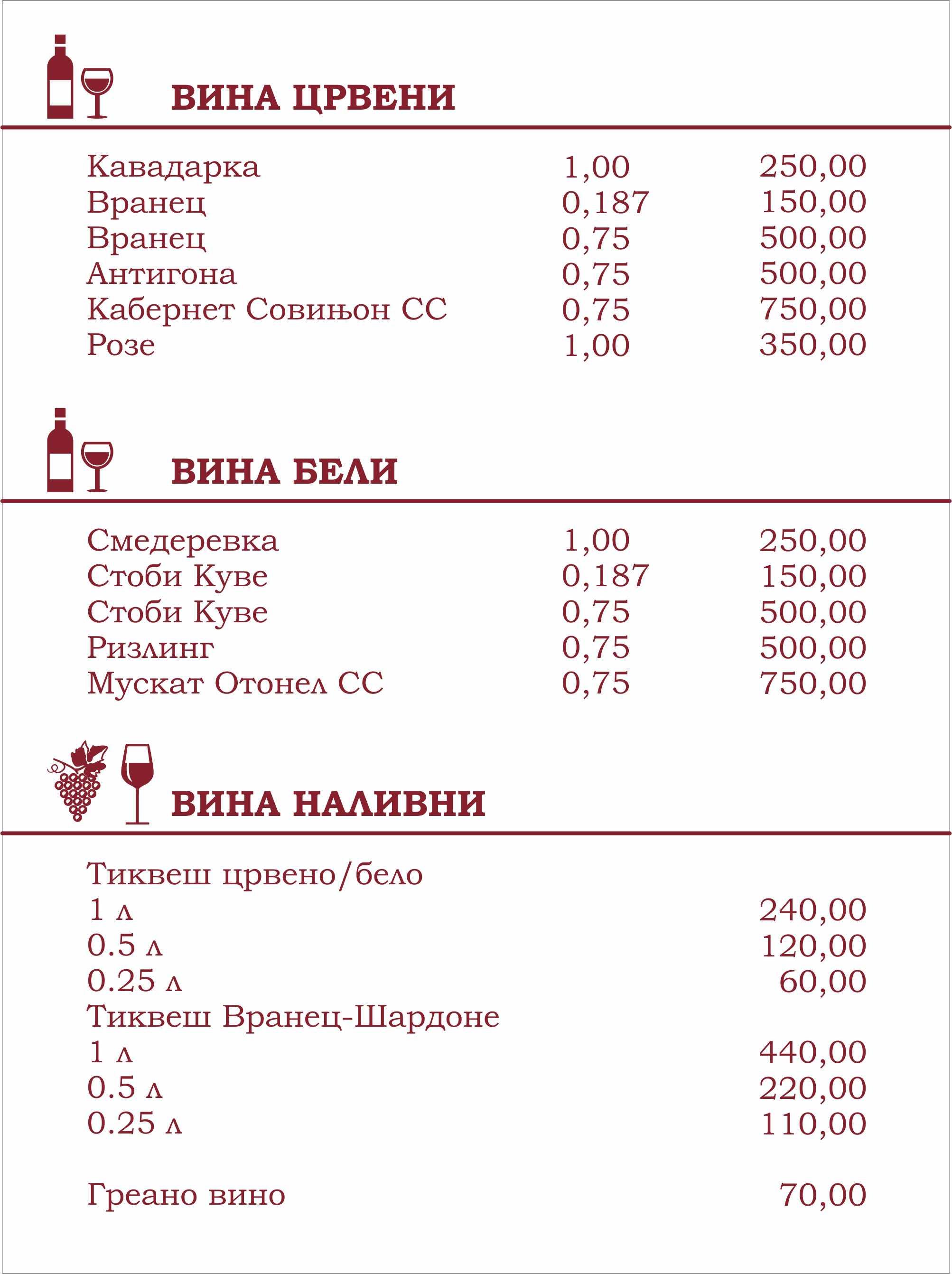 Градска кафеана Калабалак menu